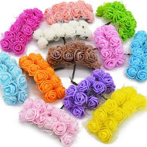 Pcs 2cm Multicolor Mini Foam Rose Artificial Flower Bouquet Wedding Bridal Decoration Scrapbooking Small Fake Flowers Decorative & Wreaths