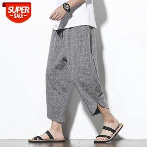 Summer Harem Pants Men Grid Casual Streetwear Joggers Ankle-length Sweatpants Trousers #H20N