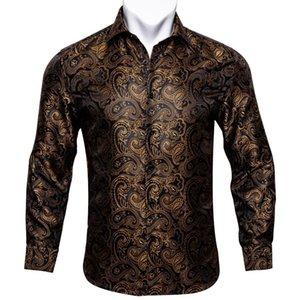Spring Automne Soie Chemises Hommes Paisley Or Rouge Blue Casual Hommes à Manches Longue Blouse Vêtements Chemise Chemise Barry.wang