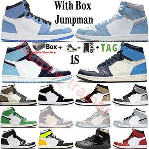 Com Box 2021 Mens tênis de basquete 1s topo Obsidian UNC Esporte Destemido FANTASMA TURBO VERDE 1 Encosto GYM VERMELHO Sneaker instrutor Tamanho 36-47