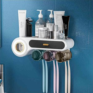 New Toothbrush Holder Wall Mounted Multifunctional With Cups Toothpaste Squeezer Bathroom Accessories
