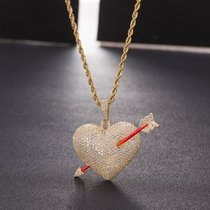 Rope Out Zircon Through Heart Hip Pendant Men Iced With Jewelry Color Bling Cubic Chain Arrow Gold Hop Necklace Ptvbm