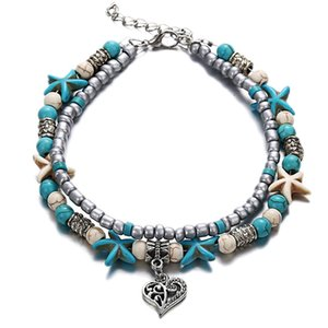 Boho Style Ankle Bracelet Bohemia Sea Turtle Starfish Charms Beach Anklet Shell For Women handmade leg bracelet Jewelry 651 K2