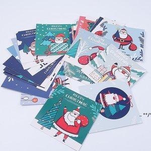 30-Packed Christmas greeting cards Cute cartoon santa snowman Blessing message postcard FWB11154