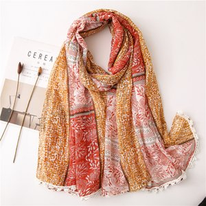 Spring and Summer Women's Cotton and Linen Scarf Sequined Cashew Flower Lace Ethnic Style Literary Forest Female Shawl