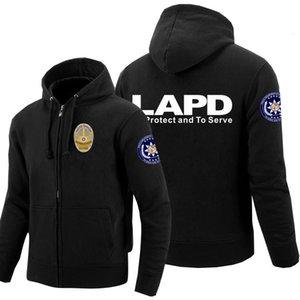 Homens de LAPD Moletons Imprimir Los Angeles Departamento de Polícia Zíper Zíper Hoodies Inverno Moletom Com Capuz Mulheres Harajuku Casacos