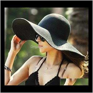 Caps Hats, Scarves & Gloves Fashion Accessories Drop Delivery 2021 16 Colors Women Wide Brim Hat Floppy Large Sunhat Beach St Hats Sun Ladies
