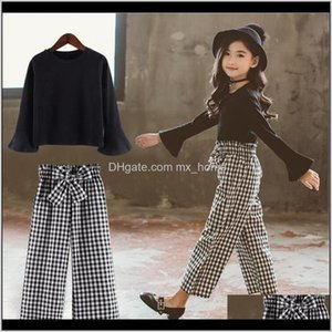 Kids Plaid Sets Cotton Long Sleeve Tshirts Wide Leg Pants Spring Girls Clothing Teenage For 4 6 8 10 12 Years 201023 Aha Gtpj2