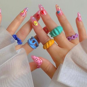 Colorful Acrylic Open Ring Irregular Candy Color Rings for Kids Girls Jewelry