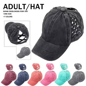 Ponytail Baseball Mesh Cap 7 Solid Colors Criss Cross Peak Net Hat Fashion Pierced Cotton Outdoor Sun LLA639