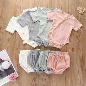 Baby Clothings set Solid Cotton Stripe Pit Short Sleeve Sweatshirt + Triangle Pants Infant Summer Pajamas Kids Suits ZYY943