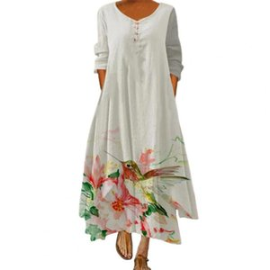 Casual Dresses Elegant Women's Dress Long French Vintage Floral Print Loose Lady Women For Beach