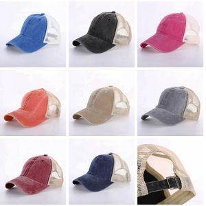 8 Colors Ponytail Hats Men Woman Washed Mesh Baseball Cap Outdoor Sports Adjustable Sun Protection Net Caps CYZ3099 100Pcs