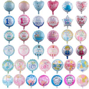 Wholesale 18 inch Baby Balloons 50pcs lot Boys & Girls Aluminium Foil Balloon Baby First Birthday Party Decorations