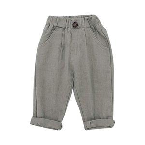 Wholesale INS New Little Kids Girls Boys Fashion Pants Kids Korean Design Front Buttons Trousers Children Girl Pants 303 Z2