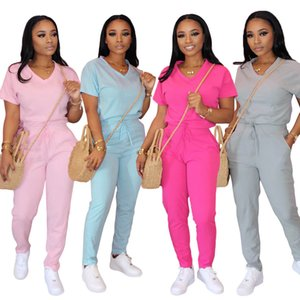 20ss Womens Sportaswear Short Sleeve T Shirt and Sweatpants Set 4 Colors Casual Tracksuit V Neck Tee and Full Length Jogger Pants Tracksuits