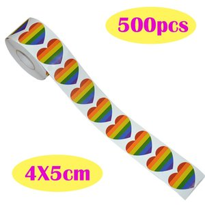 500 Love Rainbow Ribbon Stickers Gay Pride 6 Color Stripes Heart Shape Roll Tape N1HE 919 Q2