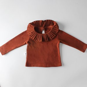 Baby Girl clothing shirt Long Sleeve Ruffles Collar solid color T-shirt for Spring Autumn baby Clothe 100%cotton doll collar shirt