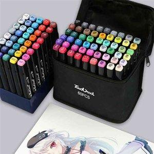 12   24   30 Colors Alcohol Sketch Marker Pens Anime Manga Drawing Brush Pens School Color Pen Art Supplies 210902