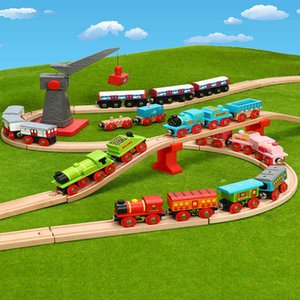 Wooden small train set rail car building block parking lot children's adventure boy toy 2-3-year-old meter rabbit track