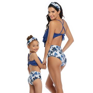 Mother and daughter swimsuit The four corners of lotus leaf Swim Wear Fashion suits Swimming equipment