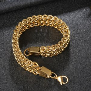 Mens Stainless Steel Chain Bracelet for Men Hip Hop 12mm Link Bangle Vintage Fashion Jewelry Cuban Link Bracelet Male Pulseira 39 N2