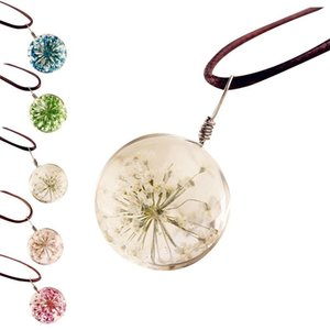 Glass Charms Pendant Necklace Dried Flower Round Necklaces For Women Jewelry Fashion Transparent