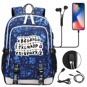 Strangerr Things Usb Charging Backpack Notebook Laptop Travel Bags Students SchoolBags