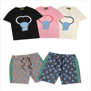 Erkek Karikatür Baskı Suits Çocuk Casual Sokak Tişörtleri Yaz Tees + Şort Erkek Moda Takım Elbise Yüksek Kalite Kısa Pantolon Ekip Boyun Tee