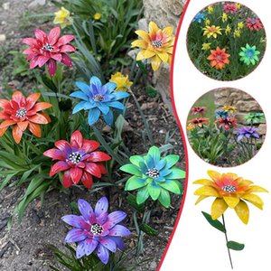 7Pcs Flower Stakes Sculptures Metal Colorful Art Party Holiday Garden Yard Festive Outdoor Simulation Landscape Lawn DIY Decor Decorative Ob