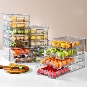 Lagerflaschen Gläser Kühlschrank Organizer Bin Auszug Kühlschrank Box Klare Kunststoff Schublade Pantry Gefrierschrank Behälter Stapelbare Klotze
