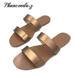 Shoe Sandals Fashion Flip Flops Summer Style Flats Solid Slippers Sandal Flat Size 6-10 210622