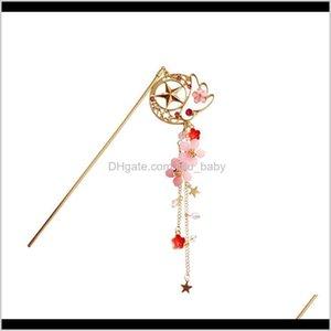 Bun Maker Tools Products Drop Delivery 2021 Cartoon Anime Sailor Moon Card Captor Cardcaptor Sakura Hair Pin Accessories Flower Hairpin Sweet