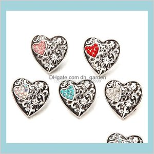 Clasps Hooks Findings Components Drop Delivery 2021 Fashion Crystal Heart 18Mm Jewelry Vintage Flower Engraved Noosa Chunks Diy Ginger Snap B