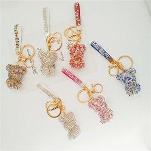 Korean cartoon full diamond bear doll keychain creative sitting violent key chain bag ornament