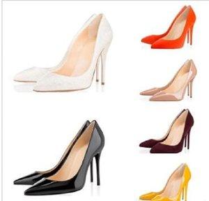 Size33-42Fashion Lüks Tasarımcı Çıplak Siyah Kırmızı Kadın Ayakkabı Kırmızı Alt Yüksek Topuklu 8 cm 10 cm 12 cm Deri Sivri Burunları Pompaları Elbise Ayakkabı