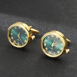 Men's Luxury Pair Watches Cufflinks Classic Rotating Gold Case Clock Holiday Gifts Vintage Cuff Links for Men Suit Shirt Sleeve