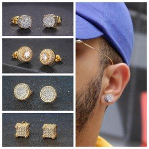 Retro threaded earrings for men women, luxury punk jewelry, gold and ice zircon, hip hop earrings, women accessories, ohe003