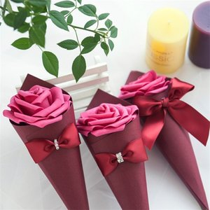 22cm bow Flower Cone Candy Box Cajas De Regalo Package Holder Case Creative Jewelry Wedding Party Favor Organizer Lipstick Gift 1xya B2 60AE