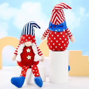 Party Decoration Patriotic Veterans Day Tomte Gnome Decorations Handmade Stars Plush Doll Swedish Ornaments 4th of July Gift GGA4733