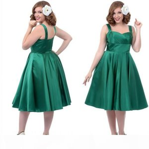 Green Cheap Prom Dress Sweetheart Sleeveless Homecoming Dresses Zipper Tea-Length Plus Size Dresses Satin Party Dresses with Straps