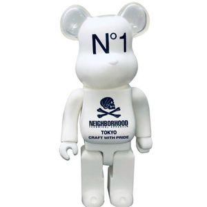 Hot 400% 28cm Bearbrick Evase Colle Crâne Blanc et Black Bear Figurines jouet pour collectionneurs Be @ rbrick Art Travail Modèle Décorations enfants cadeau