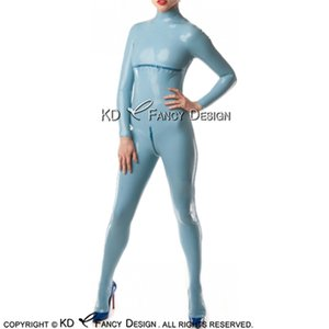 Lake blue Sexy Latex Catsuit With Breast Zipper Feet Socks Back To Crotch Zip Rubber Body Suit Bodysuit Zentai Overall LTY-0219
