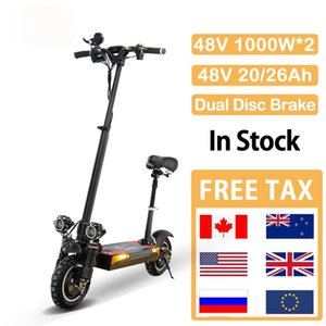 100KM Long Range Folding Electric Scooter 48V 26Ah Lithium Battery 2000W E Scooter for Adult Electric Skateboard Free Tax