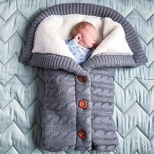Autumn and Winter Stroller Baby Sleeping Bag Outdoor Button Baby Knitted Sleeping Bag Wool Brushed and Thick Baby's Blanket 909 X2