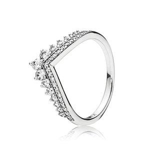 Clear CZ Diamond Princesa desejo Caixa original para Pandora 925 Sterling prata mulheres meninas casamento coroa anéis