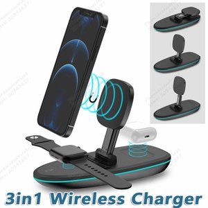 Three in one magnetic folding wireless quick charger for iphone samsung cellphone iwatch airpods charger HS-V9 15 10 W