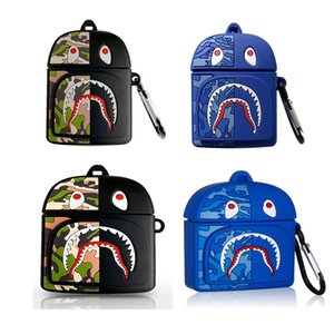 Fashion Cool Backpack Case 3D Cartoon Anime Camouflage Shark Mouth Zipper Bear Design for Apple Airpods 1 2 Pro Earphones Cover Cases Gift