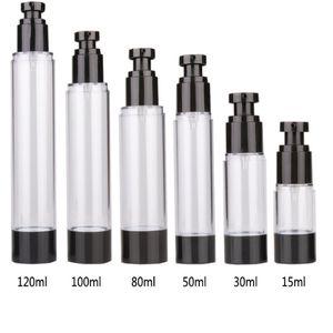 15ml 30ml 50ml Empty Black Airless Pump Dispenser Bottle tube 80ml 100ml 120ml Refillable Lotion Cream Vacuum Spray Bottles