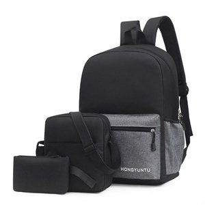 Backpack Men's Business Leisure Female Student Schoolbag Simple Fashion Computer Bag Three Piece